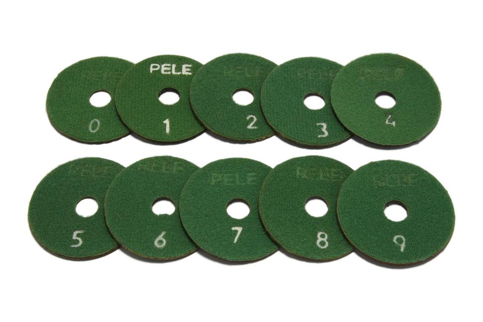 Алмазный гибкий шлифовальный круг PELE d 75мм №0-9 - Комплект АГШК PELE d 75мм