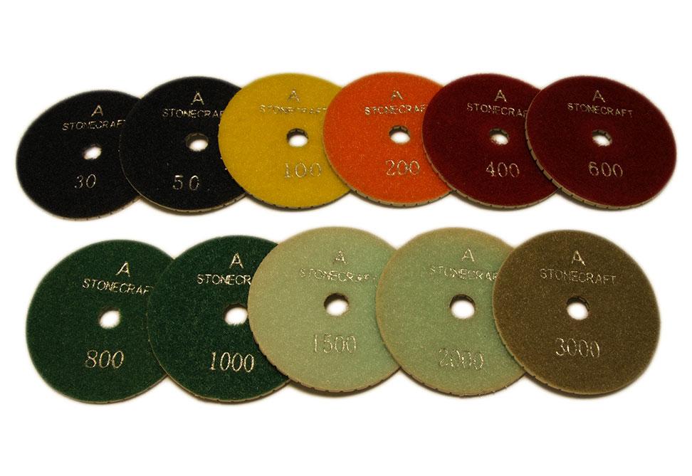 Алмазный гибкий шлифовальный круг d 80мм для светлых пород камня, класс А №30-3000 - Комплект АГШК d 80мм для светлых пород камня,класс А №№30-3000