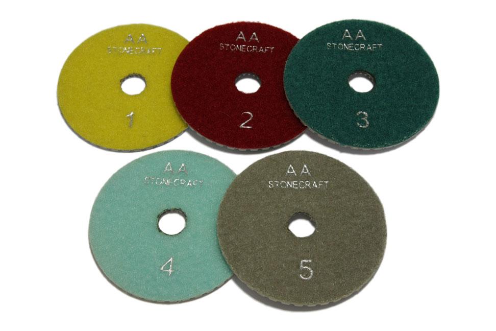 Алмазный гибкий шлифовальный круг d 125мм, 5 шагов класс АА, комплект