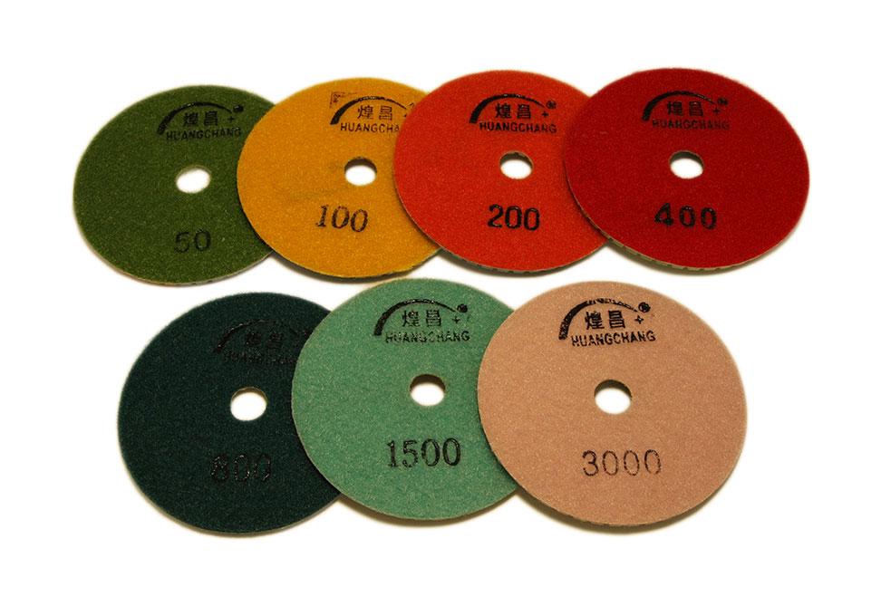 Алмазный гибкий шлифовальный круг d 100мм, трехцветный №50-3000 - Комплект АГШК d 100мм, трехцветные