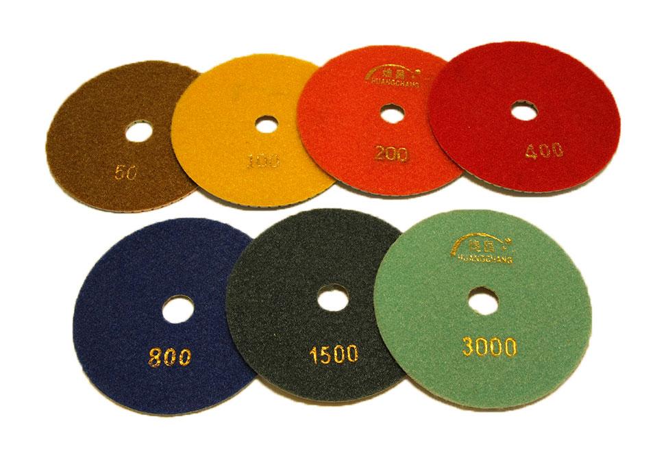 Алмазный гибкий шлифовальный круг d 125мм, трехцветный №50-3000 - Комплект АГШК d 125мм, трехцветные