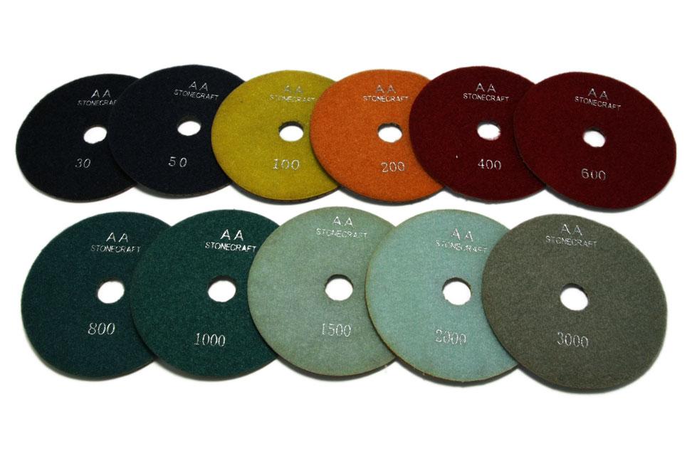Алмазный гибкий шлифовальный круг d 125мм, класс АА №30-3000 - Комплект АГШК d 125мм, класс АА №№30-3000