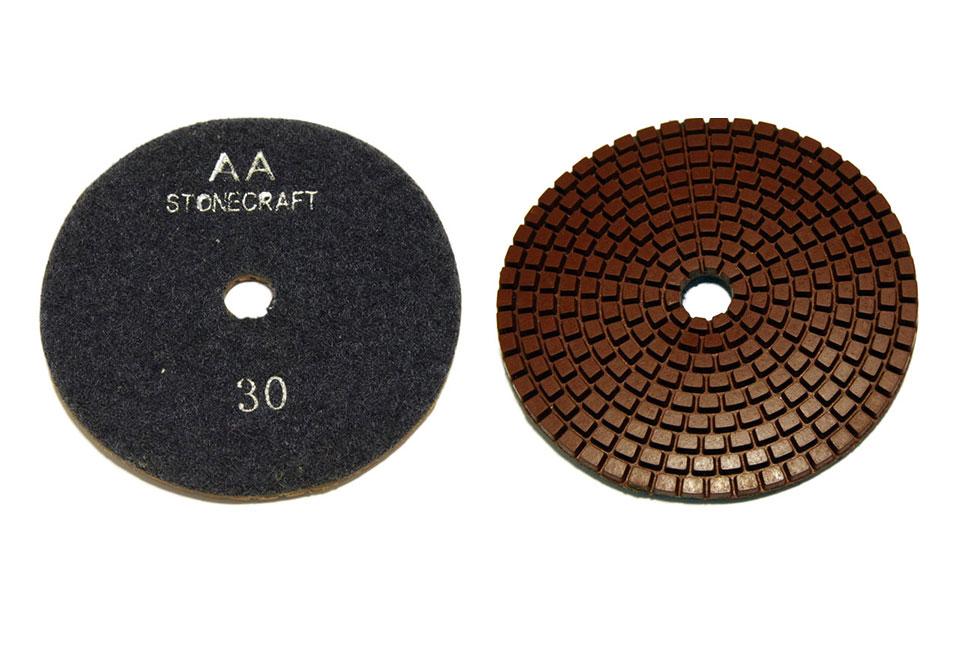 Алмазный гибкий шлифовальный круг d 100мм для темных пород камня, класс АА №30-3000